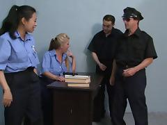 Two female cops talk their co-workers into having foursome sex