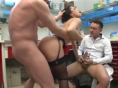 Catarina enjoys ardent MMF anal threesome in an office