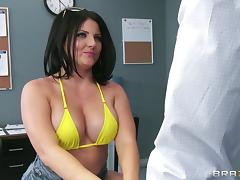 Office, Big Tits, Bikini, Blowjob, Brunette, Couple