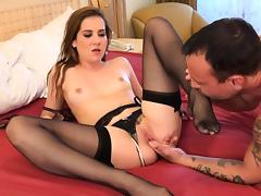 Kasey Warner Strips Off Stockings and Gets Fucked Hard