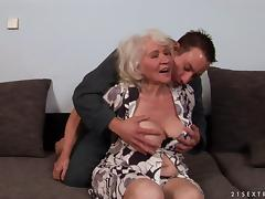 Provocative granny with a hairy pussy enjoying being throbbed doggy style