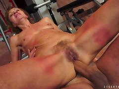 Mature pornstar with small tits moans while getting her asshole penetrated
