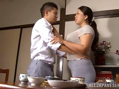 Alluring Japanese milf with natural tits gets pussy licked then screwed hardcore