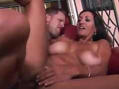 Sexy tanned mature lady rides younger cock