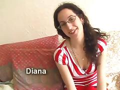 Diana with great body is playing with her hairy cunt