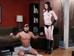 Beautiful Stoya blindfolds a guy, gives him head and fucks him