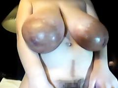 Nice japanese girl with giant tits and areolas