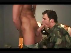 Millitary made to suck his mates big dick
