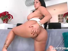 Big butt slutty brunette riding huge dick on couch