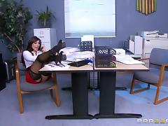 Big boobed business babe in lingerie nailed by her office mate