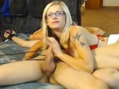 Wife ties husband and teases him then jerks him off