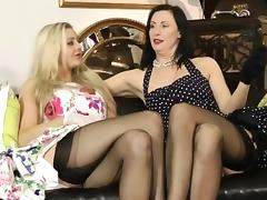British stockings milf plays with busty pal