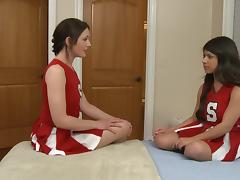 Uniform-clad lesbian teen with nice big tits getting her pussy licked