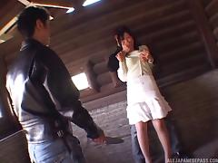 Guys get rough with a Japanese slut in a skirt and pantyhose