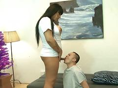 A chubby tranny nurse lets her horny patient poke her in the ass