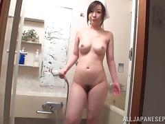 Screwing an Asian slut's aching pussy and cumming inside her