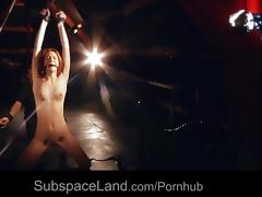 Helplessly redhead slave leg spread for bondage masturbation