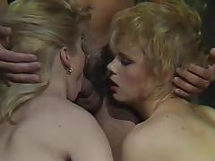 80s pornstar,Marilyn Jess,others in long orgy scene