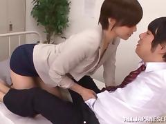 Short haired Asian teacher gives her horny student an untamed sex lesson
