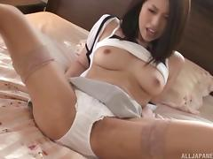 Lovely Asian MILF is a teacher who loves giving blowjobs