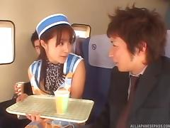 Slutty stewardess blows the passengers for a good time