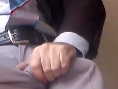 DRESS JERKING IN OFFICE-SPUNK FLOW IN CLASSIC GREY SUITPANTS