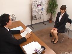 Hardcore job interview with a cute Japanese brunette