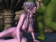 3D anime sucking monster cock