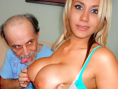 All, Big Tits, Blonde, Dirty, Old Man, Stockings