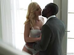 Black businessman keeps a white girl as his personal fuck toy