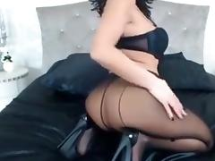 Raven Haired Milf Teases In Sexy Hose&Heels