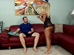 Busty Blonde - Plays With Not Her Brother On Sofa