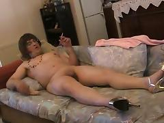 Transsexual Soloist Sticking Dildo In Ass