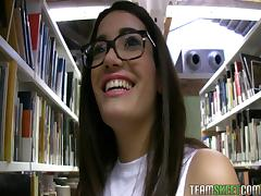 Nerd from the library takes cash to make a POV video