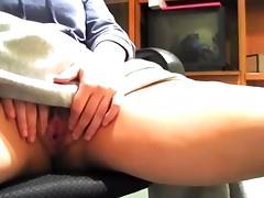 she films herself fingering under her desk.  s