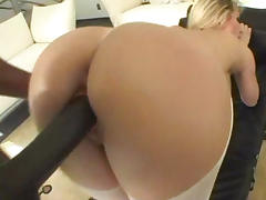 Taking huge black dick in her ass
