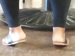 Candid ebony feet in cafeteria(three ladies)