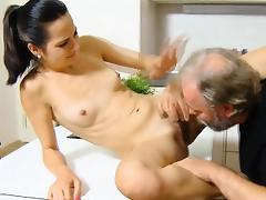 Steaming young seductress likes old cock in mouth and vagina
