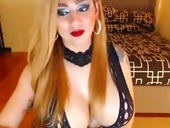 Giant tits shemale stroke her hard dick