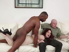 Bald husband needs to watch his pale wife banged by the ebony partner