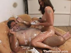 Fat guy and his cute lady covered in food as they fuck