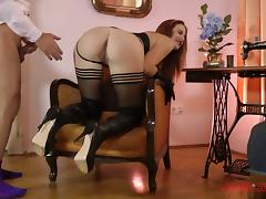 Hot leather and dark lipstick on a lady fucking the old guy
