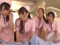 Reverse gangbang with Asian nurses and the lucky guy