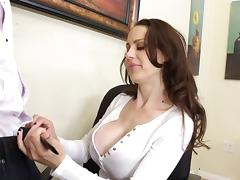 Her big fake titties are breathtaking in an office fuck scene
