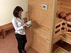 Magnetic babe lets the sauna guy enter her vaginal depths