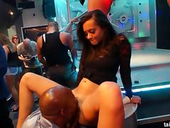Crazy nightclub adventure with the lesbians who love to suck cock