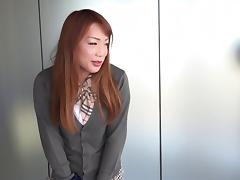 Brunette from Asia reveals to be a cock-hungry shemale