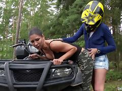 Quad-bike riding ends up as a pussy licking session in the forest