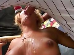 Busty Baseball Bitch Deepthroats Cock