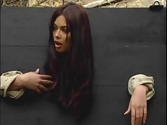 Long haired brunette diva getting throbbed hardcore outdoor